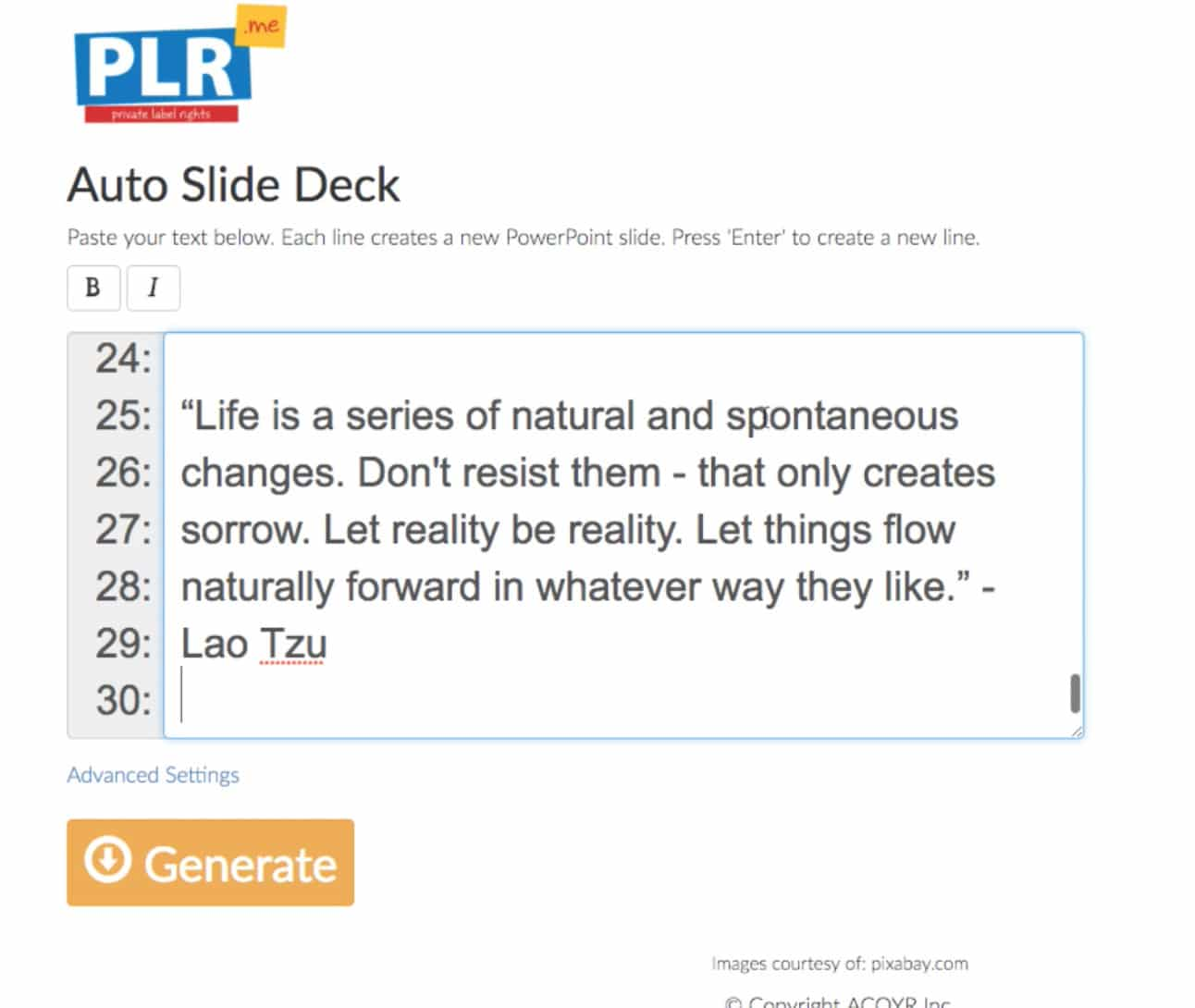Copy Text Into Auto Slide Deck