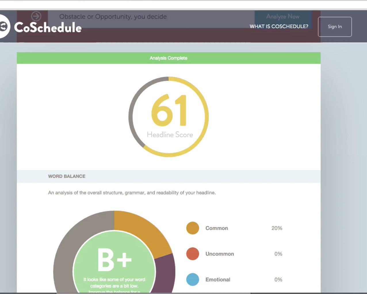 Co-Schedule Headline Analyzer
