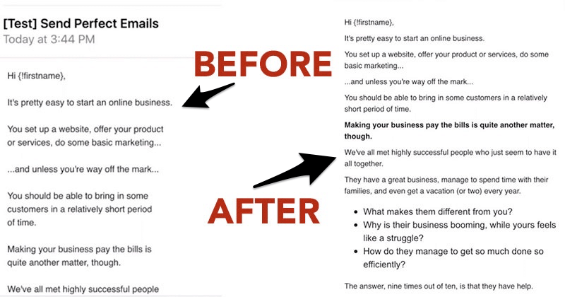 Email before and after using the perfect email formatter tool
